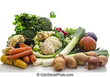 Organic vegetables - Group of different organic vegetables ...