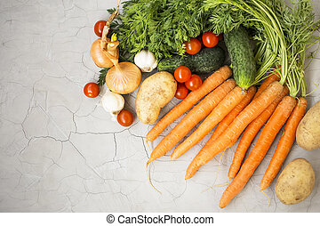 Organic vegetables harvest, top view