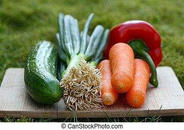 Organic vegetables on a board