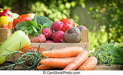 Organic vegetables on table