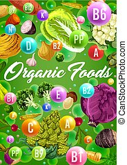 Organic vegetarian vegetables and vitamins