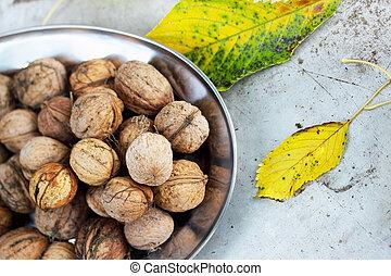 walnuts on a metal plate