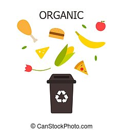 Organic waste black bin. Waste sorting and recycling concept. Color vector ilustration