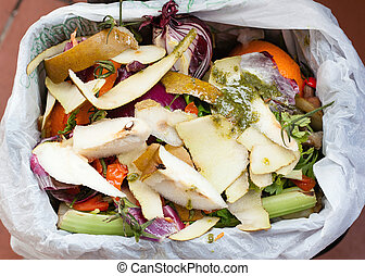 Organic waste for compost with vegetables, fruits and varied...