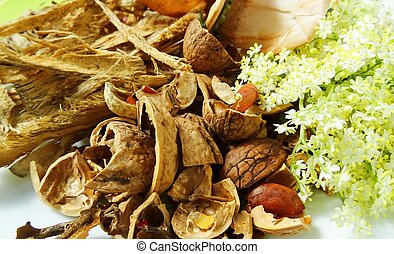Organic waste for composting. Nut shells, tea bags, elderberry inflorescence. Zero waste lifestyle