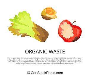 Organic Waste Poster Text Vector Illustration - Organic...