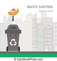 Organic waste sorting flat concept. Vector illustration of...