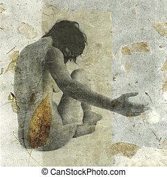 Organic Woman - Female figure on leaf paper.