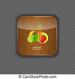 Organic wood application icons vector illustration