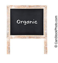 Organic written on chalkboard isolated