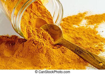 Organic Yellow Turmeric Powder - Close up of organic ...