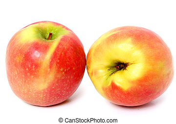 Organically Grown Pink Lady Apple - Two close-ups of...