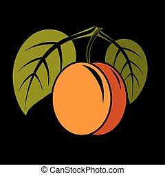 organický, donášet, Zralý, ilustrace, strava,  vegetarián, ovoce, zdravý, vektor, nezkušený, osamocený, pomeranč, Chutnat Jak, celek, List, jednoduchý, ikona