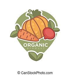 organický, produkt, inzerce, plakát, vektor, illustration., dýně, mrkev, bít