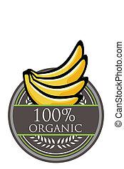 organico, banana, etichetta