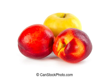 organico, bianco, mela, pesca, fresco, fondo, isolato