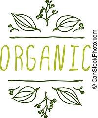 organico, -, etichetta prodotto, bianco, fondo.