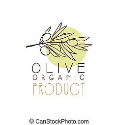 organico, etichetta prodotto, con, ramo olivastro, oliva, mano, disegnato, e, foglie