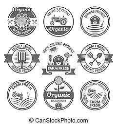 organico, fattoria, emblemi, vettore, prodotti, fresco