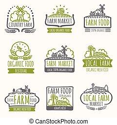 organico, fattoria, vendemmia, etichette, signs., campo, vettore, cibo, fresco, raccogliere, mercato, retro