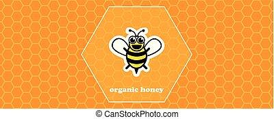 organico, favo, ape, giallo, miele, fondo