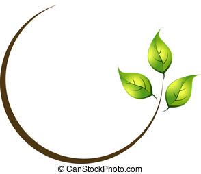organico, foglia, logotipo