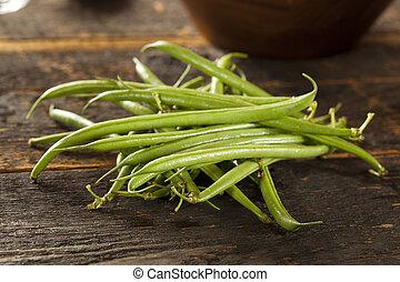 organico, francese, crudo, fagioli verdi, fresco