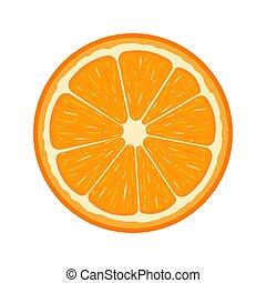 organico, fruit., tangerine., isolato, illustrazione, style., fondo., frutta, vettore, mezzo, arancia, fresco, bianco, qualsiasi, cartone animato, design.