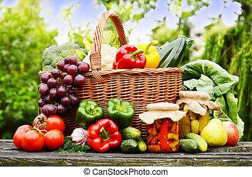 organico, giardino, vimine, verdura, cesto, fresco