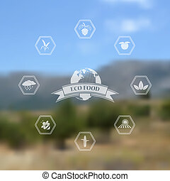organico, icone, eco, sfocato, cibo, vettore, fondo