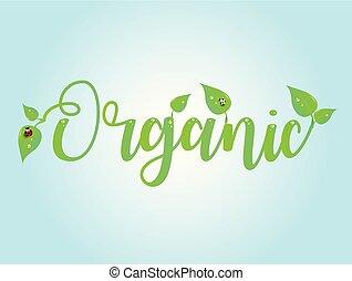 organico, illustration., text., emblem., vettore, logo.