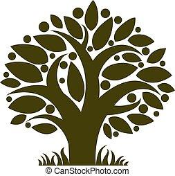 organico, image., maturo, eco, albero, isolato, idea, cibo, vettore, mele, fruity, white.