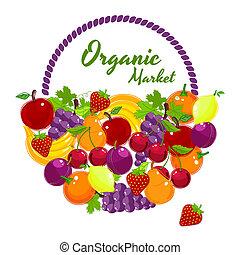 organico, mercato, colorito, vettore, manifesto, disegno