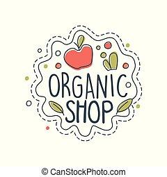 organico, negozio, logotipo, etichetta, per, cibo sano, negozio, vegan, negozio, vegetariano, caffè, ecologia, ditta, naturale, prodotti, eco, mercato, agricoltura, mano, disegnato, vettore, illustrazione