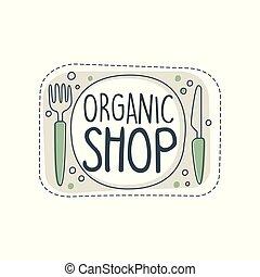 organico, negozio, logotipo, sagoma, etichetta, per, cibo sano, negozio, vegan, negozio, vegetariano, caffè, ecologia, ditta, naturale, prodotti, eco, mercato, agricoltura, mano, disegnato, vettore, illustrazione, su, uno, sfondo bianco