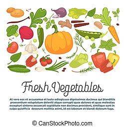 organico, sano, verdura, prodotti, annuncio pubblicitario, fresco, vegetariano
