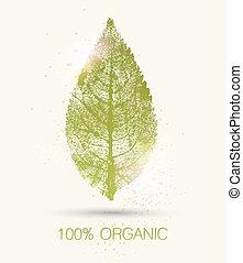 organico, segno, con, foglia verde, imprint., vettore