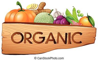 organico, segno, con, frutta verdure