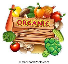 organico, segno, con, verdure fresche