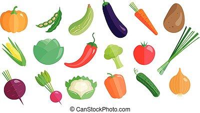 organico, set, grande, verdura, sano, vettore, sfondo cibo, illustrazioni, fresco, bianco, vegetariano