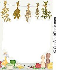 organico, spezie, condimenti, cornice
