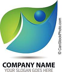 organico, tem, astratto, foglia, logotipo, icona