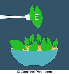 organico, titolo, cibo, menu, vegetariano, template., logotipo, segno.