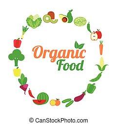 organico, vegetarian., cibo, menu, vettore, icon., illustration.
