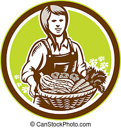 organico, woodcut, prodotto fattoria, femmina, contadino, raccogliere