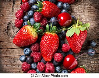 organiczny, drewniany, wiosna, tło., jagoda, jagody