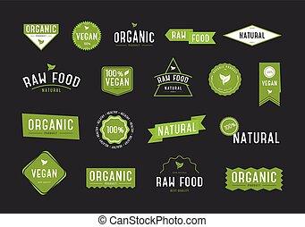 organiczny, eco, set., etykiety, zbiór, products., różny, kosmetyki, logo, albo