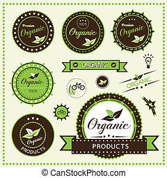 organiczny, etykiety, komplet