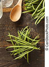 organiczny, francuski, surowy, zielony groszek, świeży