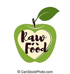 organiczny, jabłko, agriculture., słodki, wegetarianin, ilustracja, jadło., owoc, wektor, zielony, świeży